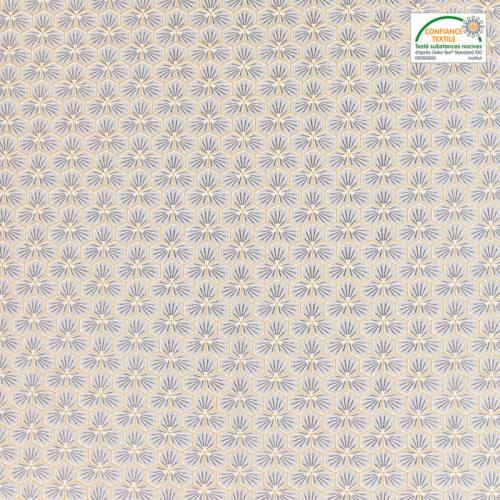 Coton gris perle motif trèfle riad