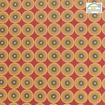 Coton rouge imprimé wax cercle jaune et marron