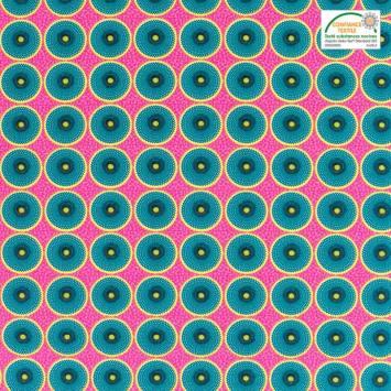 Coton rose imprimé wax cercle jaune et bleu