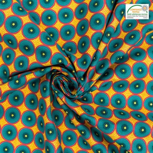 Coton jaune imprimé wax cercle bleu et rouge