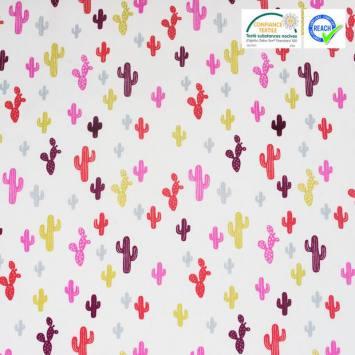 Coton blanc imprimé cactus