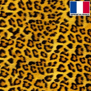 Velours ras imprimé effet fourrure léopard