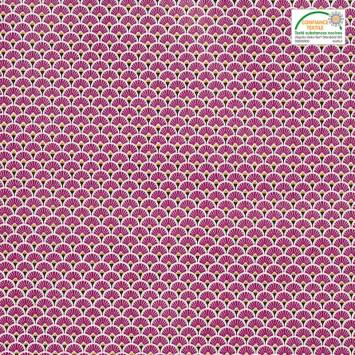 Coton imprimé éventails fuchsia et ocres