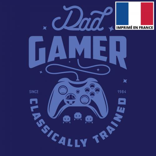 Coupon 45x45 cm toile canvas dad gamer bleu