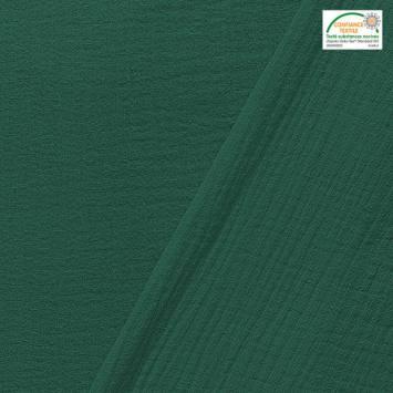 coupon - Coupon 40cm - Double gaze unie vert pin