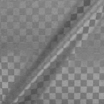 Jacquard damassé tissage carreaux gris
