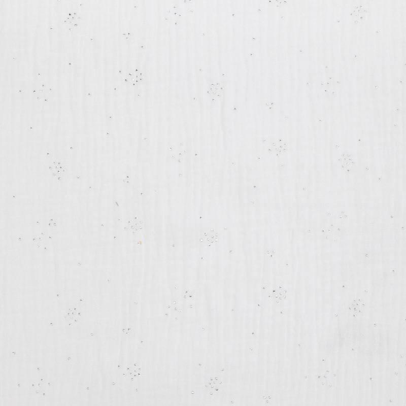 Double gaze blanche points argentés