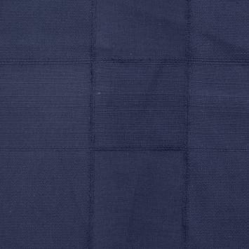 Toile coton bleue marine effet patchwork tissé uni