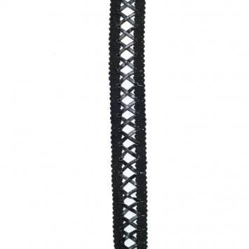 Galon tressé coton et simili cuir noir