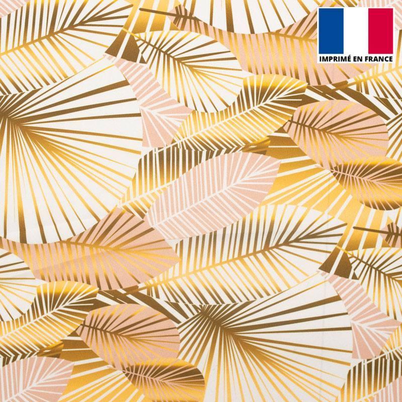 Satin écru imprimé feuilles art déco roses et or
