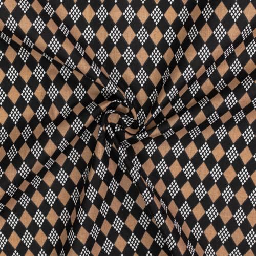 Coton imprimé losange beige et noir