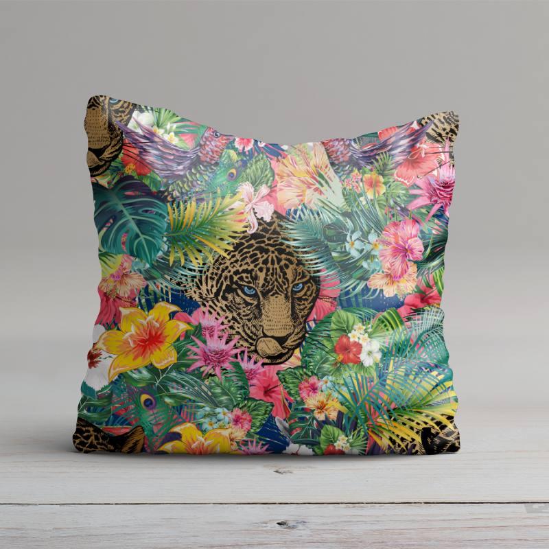 Velours ras imprimé fleur tropicale et léopard