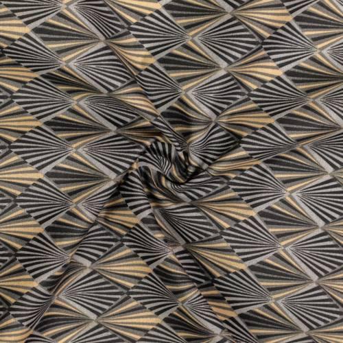 Coton imprimé losange rayon gris anthracite et beige