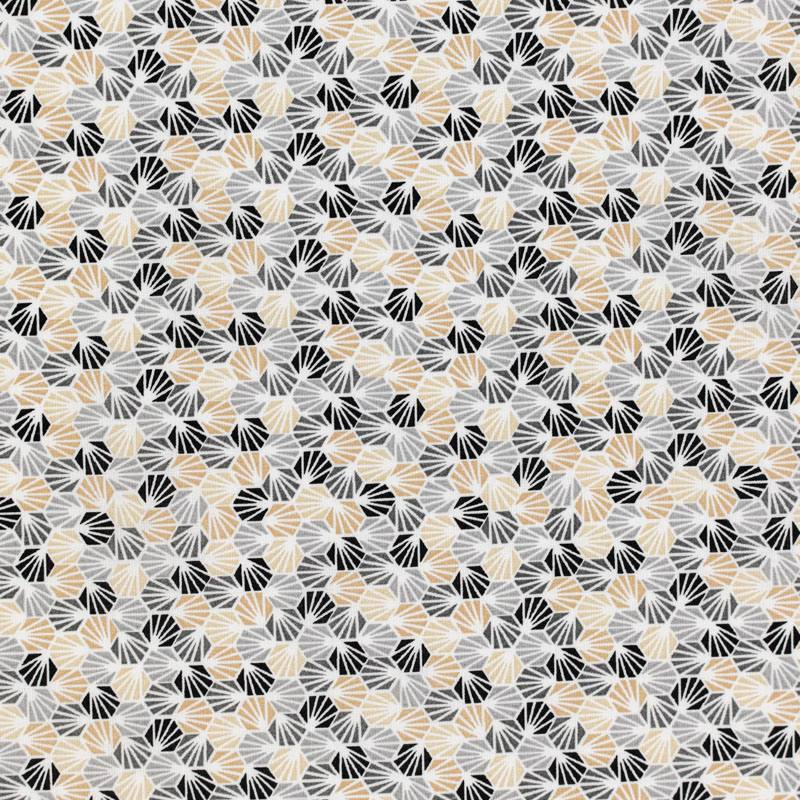 Coton blanc imprimé alvéole gris et beige
