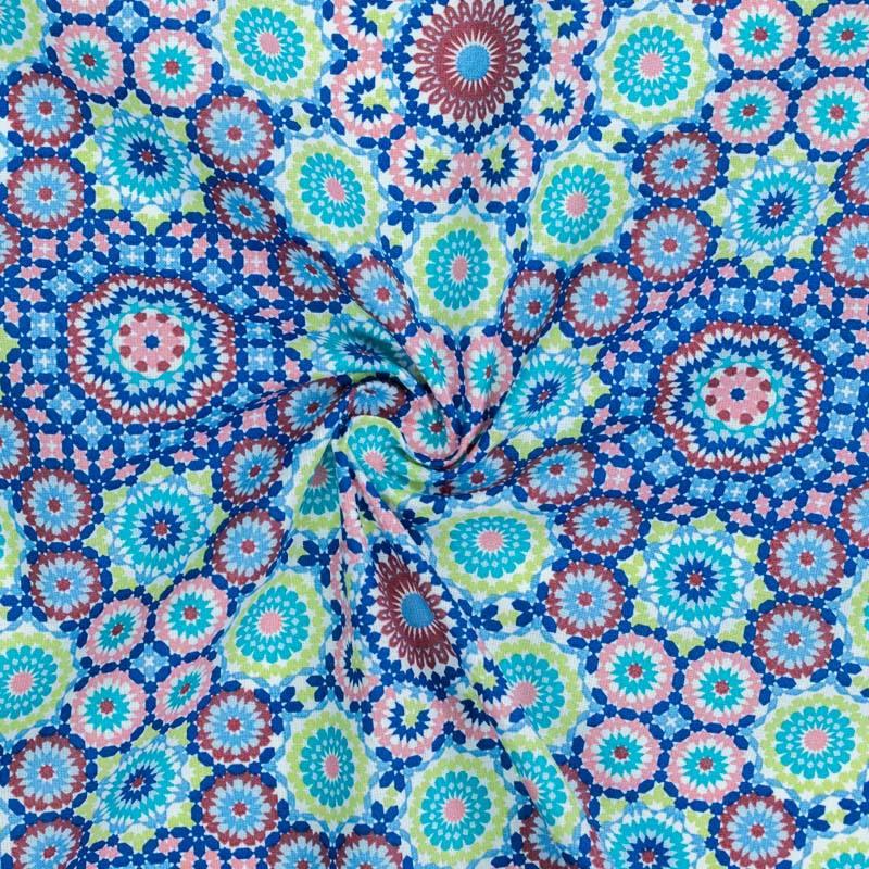 Coton imprimé rosace mosaïque bleue