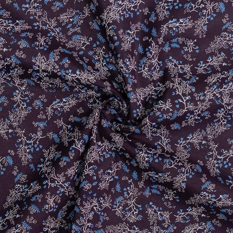 Coton spécial chemise bleu marine imprimé branche fleurie blanche
