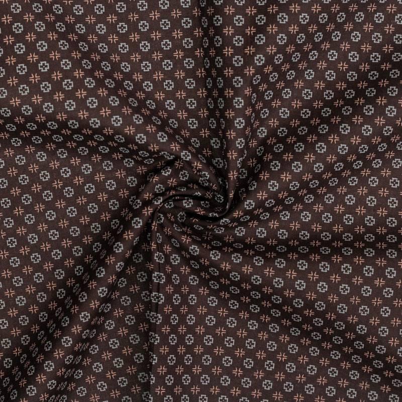Coton spécial chemise brun imprimé croix grises et roses