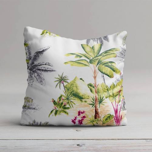 Coton percale ivoire motif jungle grande largeur
