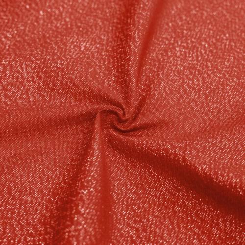 Toile polycoton rouge fil argenté