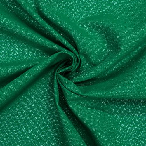 Toile polycoton vert sarcelle fil argenté