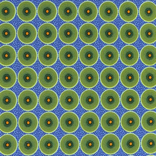 Coton bleu imprimé wax cercle jaune et vert