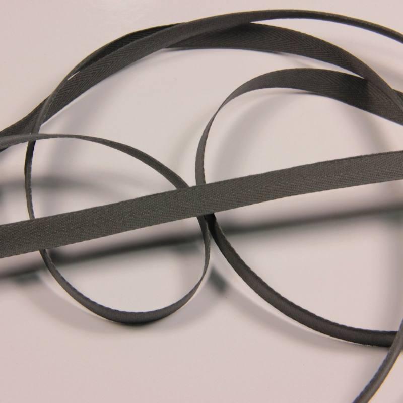 Ruban sergé gris foncé 11 mm