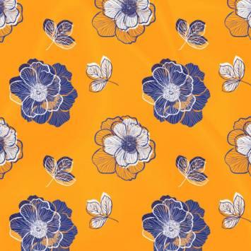 Satin ocre imprimé multi-fleurs