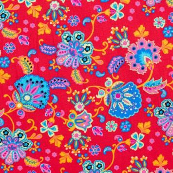 Coton rouge imprimé fleurs ornementales multicolores