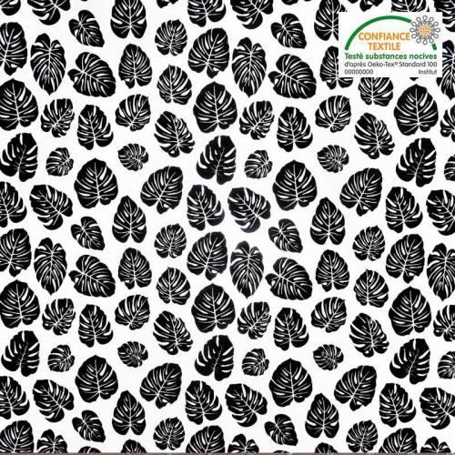 Popeline de coton blanche motif feuille tropicale noire