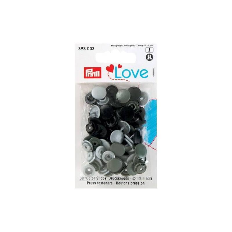 Sachet de 30 boutons-pression ronds Prym Color snaps gris/noir/vert de gris