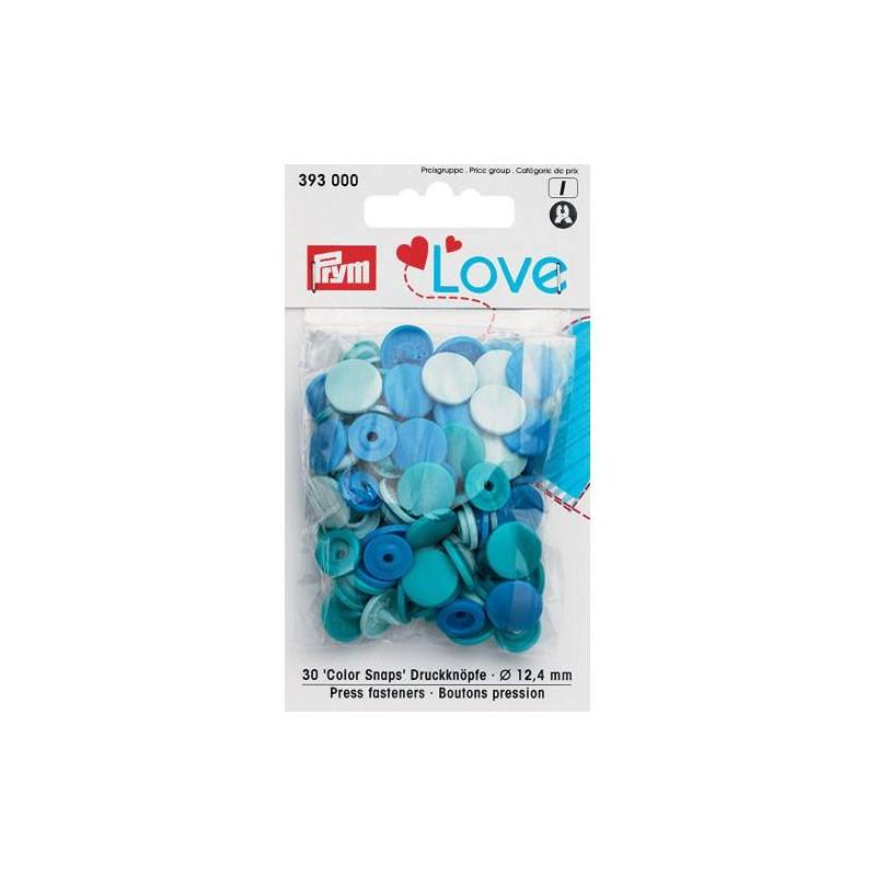 Sachet de 30 boutons-pression ronds Prym Color snaps turquoise/bleu ciel/bleu