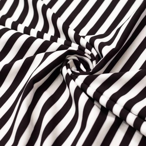 Tissu microfibre imprimé rayures noires et blanches