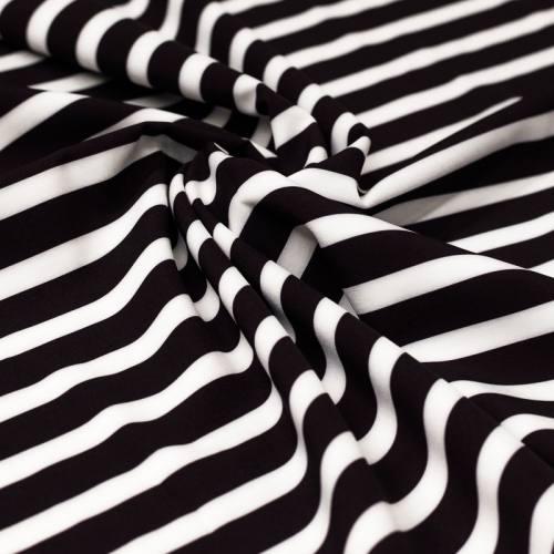 Tissu microfibre noir imprimé rayures blanches