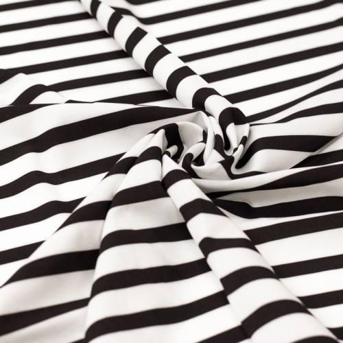 Tissu microfibre blanc imprimé rayures noires