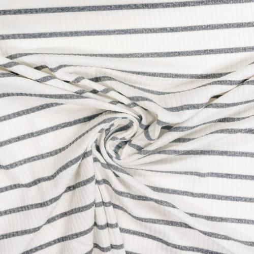 coupon - Coupon 90cm - Jersey blanc côtelé rayé gris pailleté