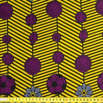 Wax - Tissu africain jaune et violet imprimé fleurs 384