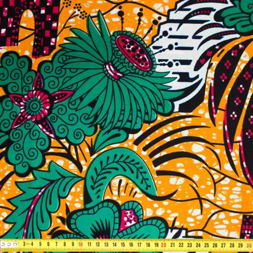 Wax - Tissu africain motif palais et fleurs 390