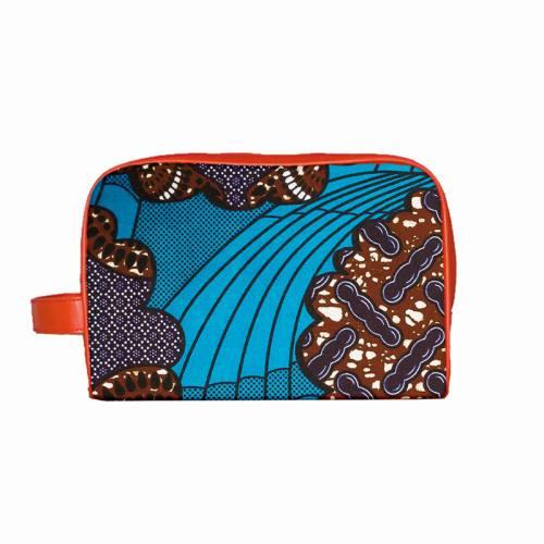 Wax - Tissu africain bleu et marron motifs ethniques 399