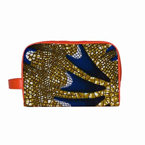 Wax - Tissu africain motif mosaique kaki et bleue 400