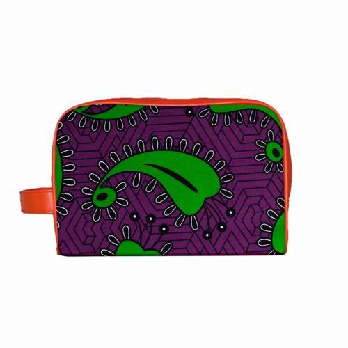 Wax - Tissu africain violet motif vert 376
