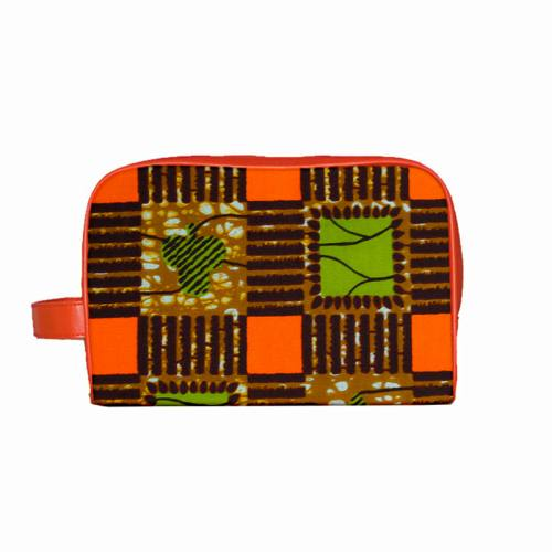 Wax - Tissu africain marron motif carrés orange et vert 397