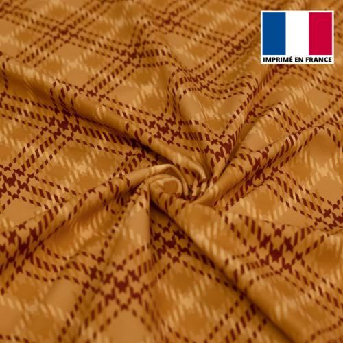 Velours d'habillement motif grand tartan ocre et bordeaux