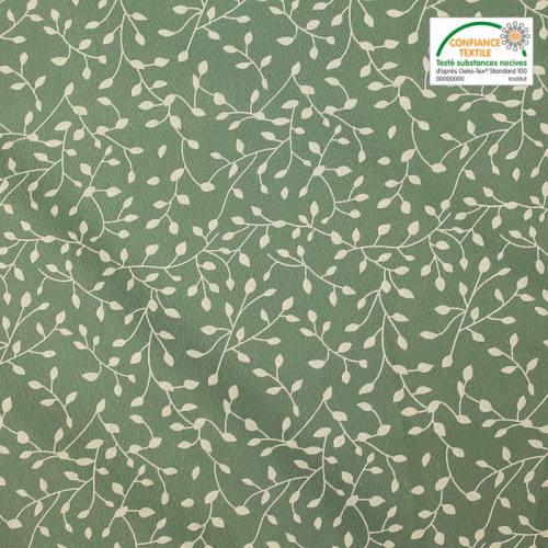 Flanelle de coton vert sauge imprimée petites feuilles blanches