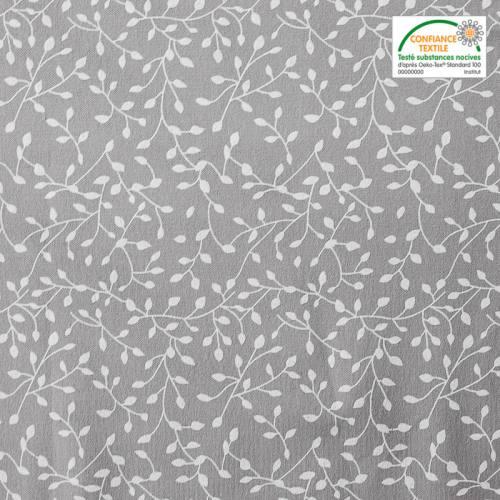 Flanelle de coton grise imprimée petites feuilles blanches
