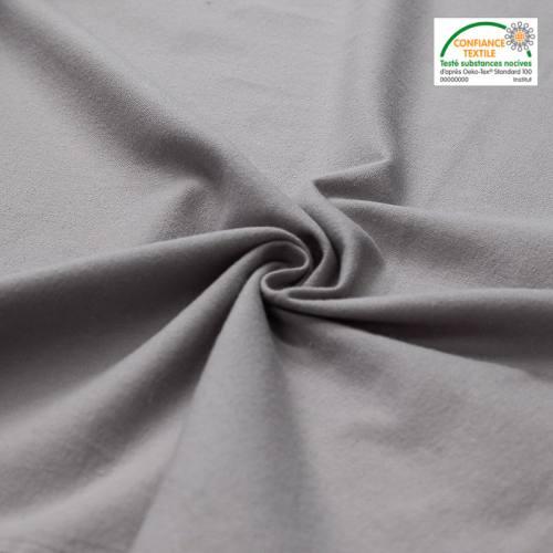 Flanelle de coton gris clair unie