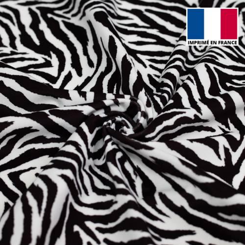 Velours d'habillement motif zèbre noir et blanc