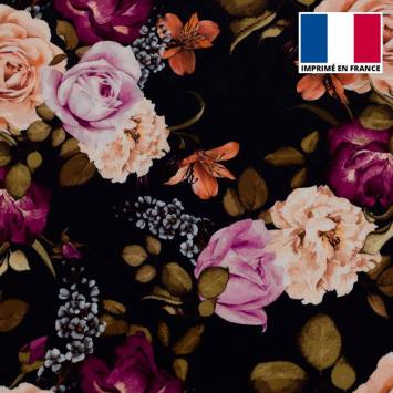 Velours d'habillement bleu marine motif rosier