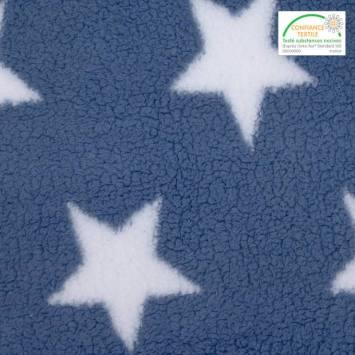 Polaire sherpa réversible bleu denim imprimée étoiles blanches