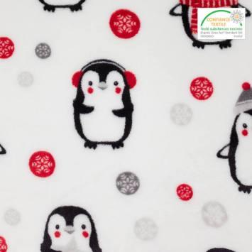 Polaire microfibre blanche imprimée pingouins