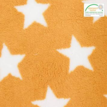 Polaire sherpa réversible moutarde imprimée étoiles blanches